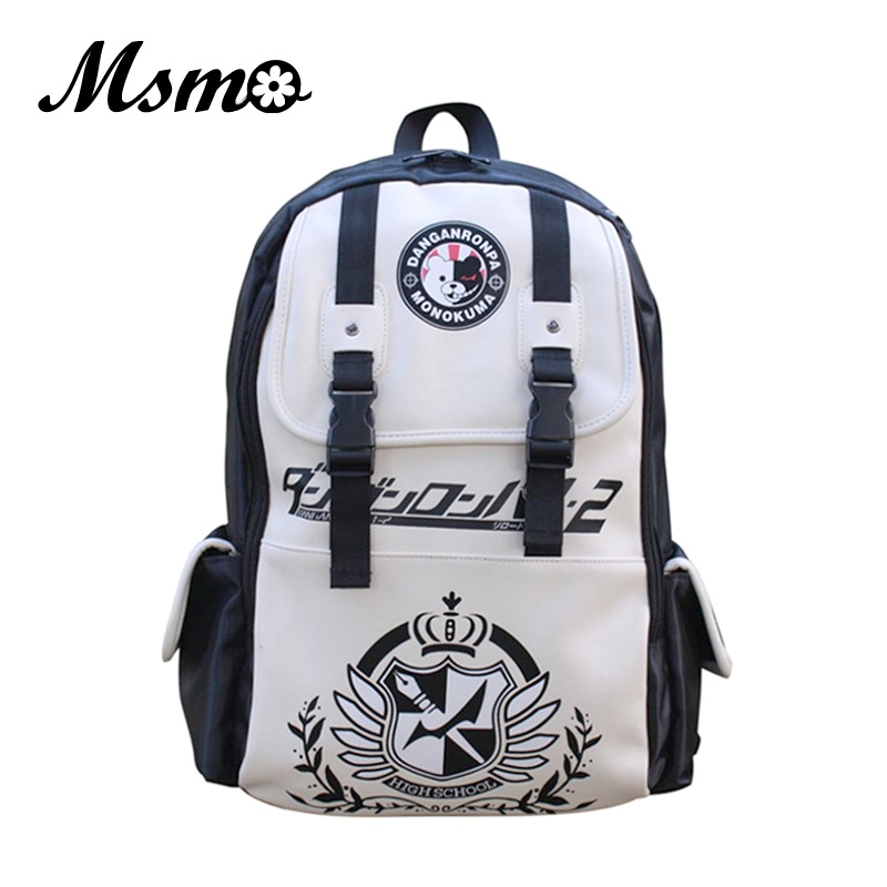 MSMO Dangan Ronpa danganronpa Monokuma Anime Cosplay PU Shoulder Backpack Kid's Bag Men and Women Travel Backpacks anime tokyo ghoul cosplay anime shoulder bag male and female middle school student travel leisure backpack