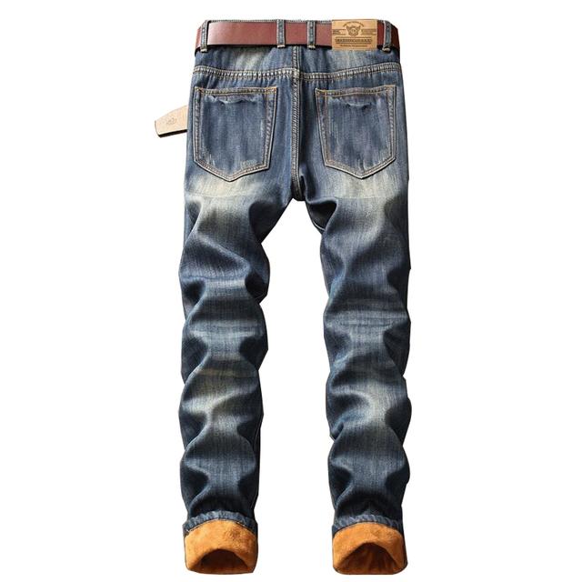 Hip Hop 2019 Men's Winter Warm Jeans Pants Fleece Lined Destroyed Ripped Jeans Denim Distressed Biker Jeans Streetwear