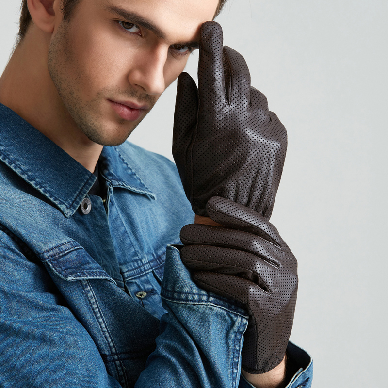 Free Shipping Men Genuine Leather Gloves Touch Perforated Thin - Apparel Accessories