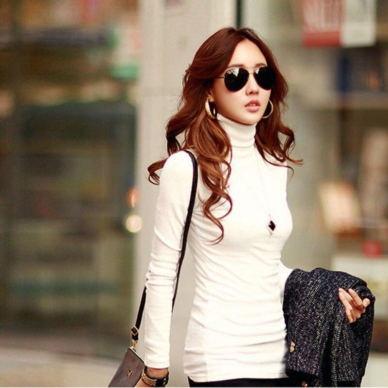 Fashion Solid Colors Women T-shirts Long Sleeve Slim Turtle Neck Shirts Women Tops 1