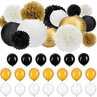 35 Pieces Party Decor Kit Tissue Paper Pom Poms Lanterns Balloons Black White Gold