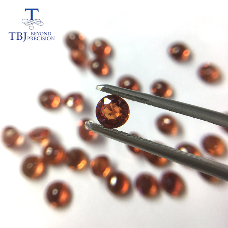 TBJ,Natural heated orange RED sapphire round 5.0mm ard 0.65ct,loose gemstone for 925 sterling silver or gold jewelry mounting