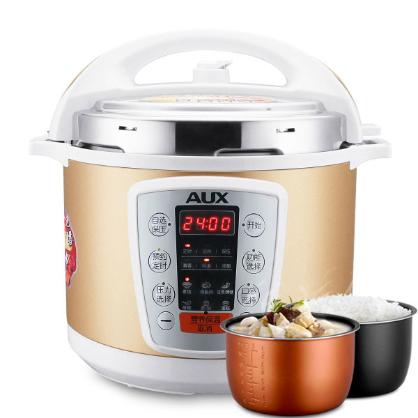 220V Household 6L Electric Pressure Rice Cooker Multi Gold Color High Quality Pressure Heating Rice Cooker With 2 Inners electric pressure cookers electric pressure cooker double gall 5l electric pressure cooker rice cooker 5 people