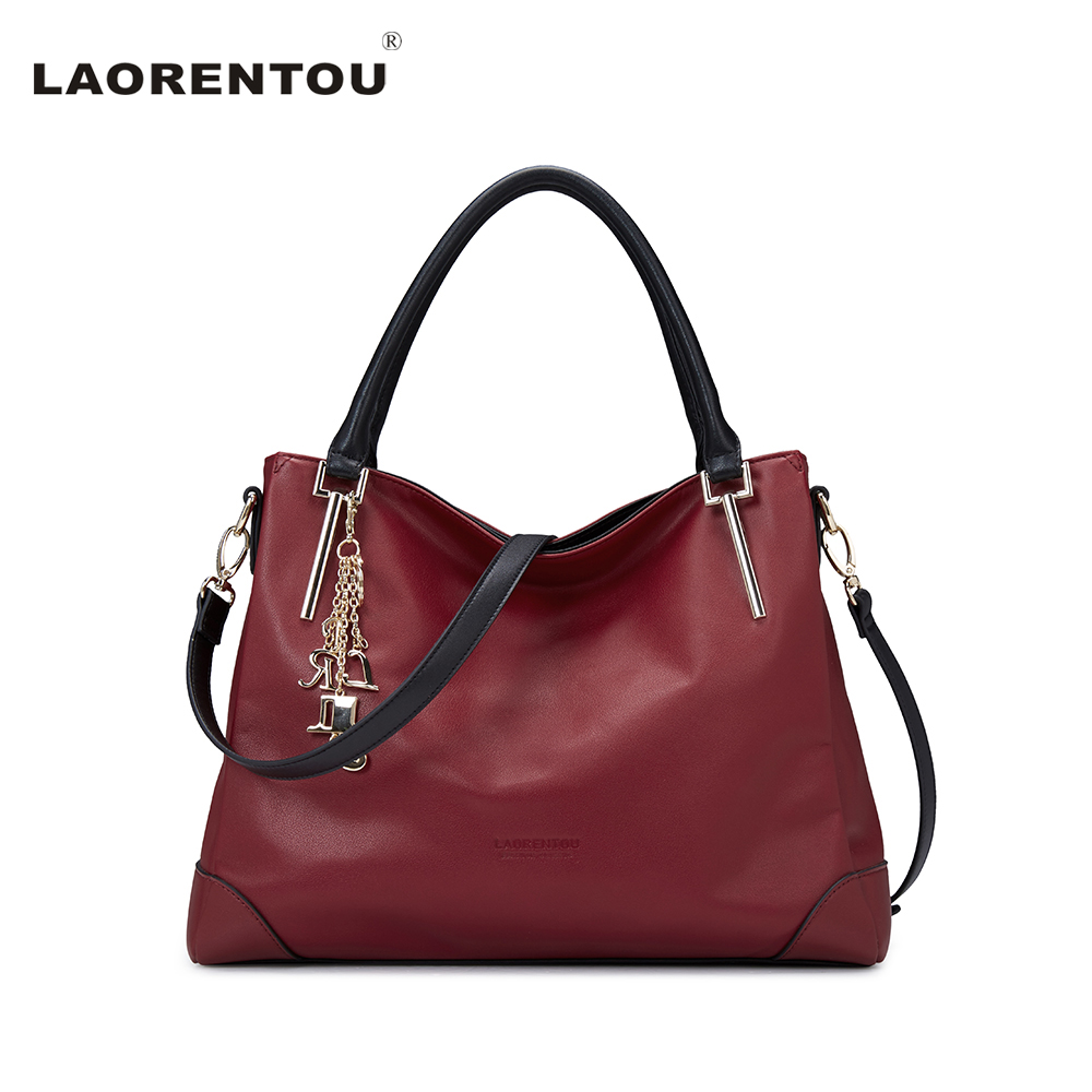 LAORENTOU Luxury Genuine Leather Women Handbags Crossbody Bags For Women Brand Designer Tote Bag New Trend Color Lady Bag N56 2017 new vintage genuine leather women handbags solid cowhide tote bag luxury handbag for women brand designer women small bag