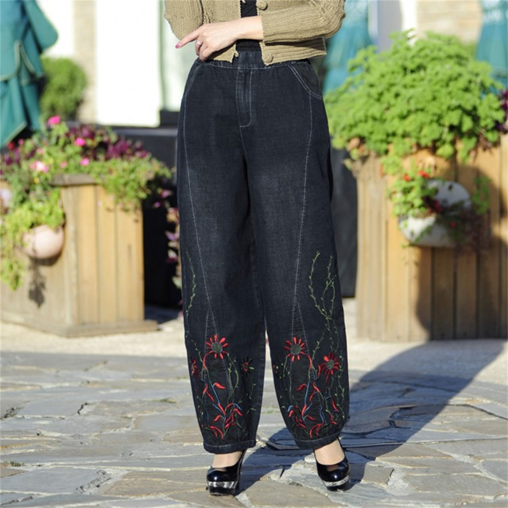 Spring and Autumn ethnic style embroidered trousers wide leg pants large size   jeans   loose high waist women trousers