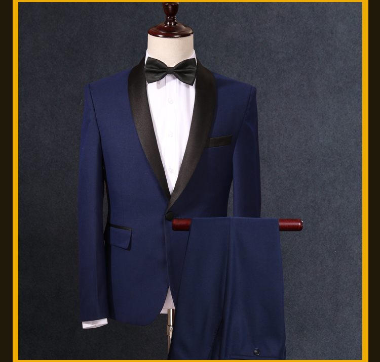 2017 Brand Fashion Men Suits Blazers Blue Jacket+Pants Slim Fit Male Suit Tuxedos Wedding Prom Groom Man Clothing
