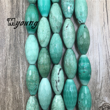 30*13mm Faceted Marquise Green Grass Agates Beads, Rugby Shape Gem Stone Spacer Fashion Jewelry Making MY1613