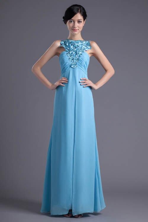 Babyonlinedress licou cou fleur bretelles Spaghetti robes de demoiselle d'honneur Sexy dos ouvert bleu clair robe en mousseline de soie pour la fête de mariage
