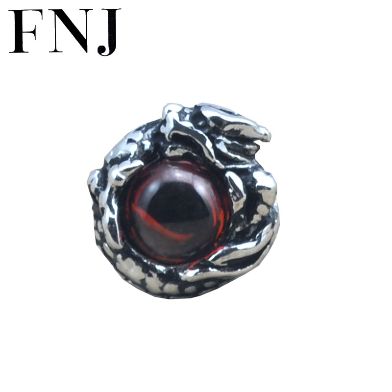 FNJ 925 sterling silver earrings for men Garnet dragon eye stud earring new fashion thai silver man male jewelry E01