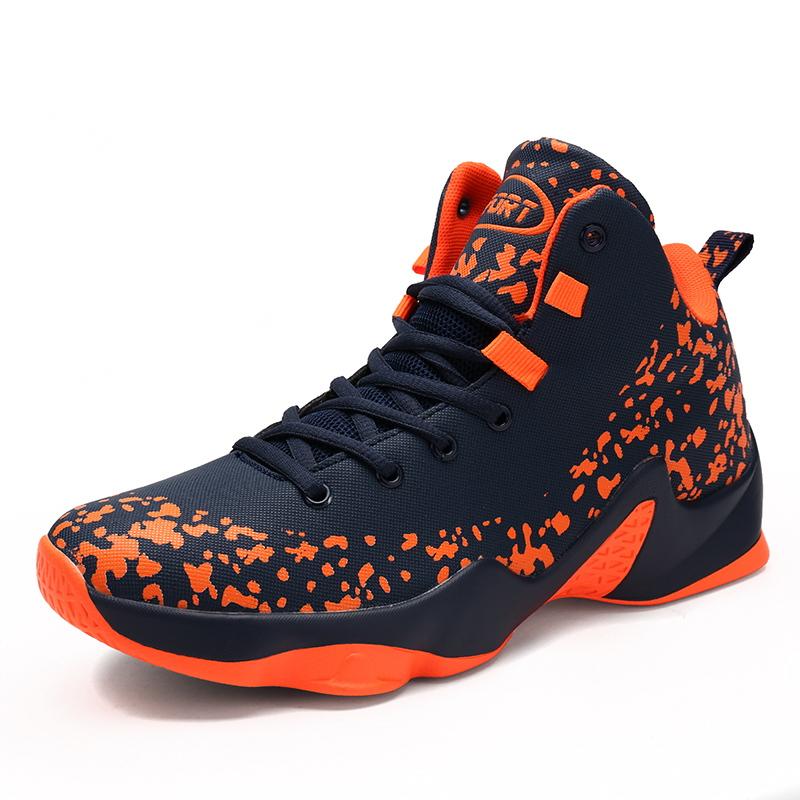 new arrivals 0876b b39de Ifrich Super Cool Men Sports Basketball Shoes Lace Up Men Sneakers High Top  Orange Black Cheap