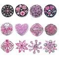 MJARTORIA 12 PCs Tom de Prata Set Mistura Forma Circular Rosa Botões Amor DIY Handmade Pulseira Mulheres Homens Jóias