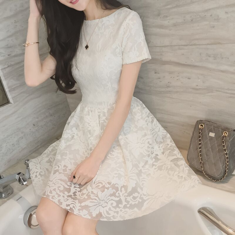 Women Summer Dress White Lace Short Sleeve Fashion Solid Party dresses Vintage Empire Hollow Yong Lady