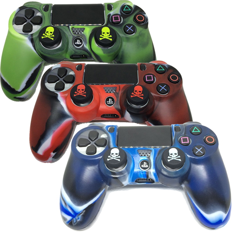 Camo Silicone Soft Case Skin Cover +2x Silicone Thumb Stick Caps for SONY Playstation DualShock4 PS4 SLIM PS4 PRO Controllers