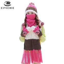 CIVICHIC, женский теплый комплект, вязаная шапка, шарф, перчатки, маска, толстый рот, муфельная бархатная шапка, помпон, шапочки, флисовая варежки...