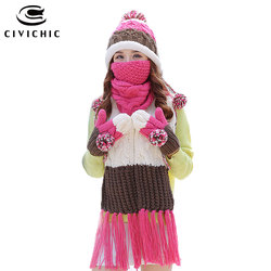 CIVICHIC Woman Warm Set Knit Hat Scarf Glove Mask Thick Mouth Muffle Velvet Cap Pompon Beanies Fleece Mitten Tassel Shawl SH180