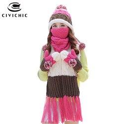 CIVICHIC mujer cálido conjunto de punto sombrero bufanda guantes máscara gruesa boca mufla terciopelo Cap pompón gorros polar manoplas borla chal SH180