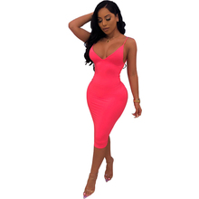 цена на New Women's Hot Sale Sling Dress Nightclub Club Party Tight Backless Dress Fluorescent Green Fluorescent Pink Dress