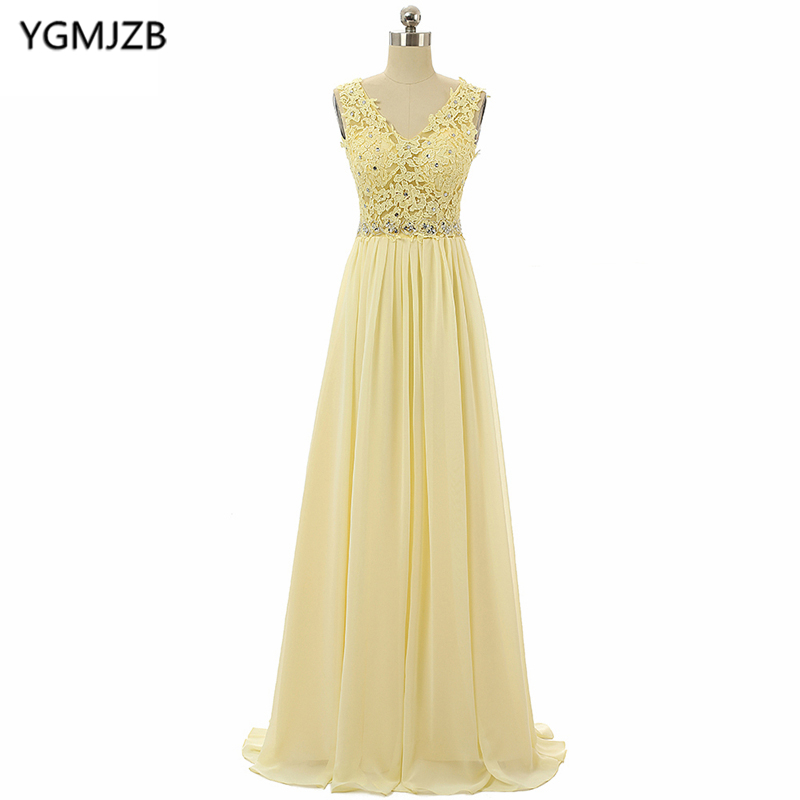 Long   Evening     Dresses   2019 A Line V Neck Cap Sleeve Sequined Appliques Lace Prom   Dress   Chiffon   Evening   Gown Vestido De Festa