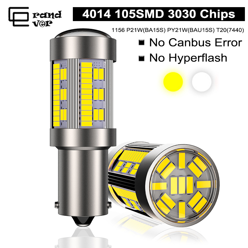 1PCS 1156 P21W LED Canbus BA15S PY21W BAU15S Bulb 12V 4014 105SMD T20 7440 w21w LED For Reverse Turn Signal Light No Hyperflash