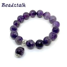 High Quality Amethyst Bead Bracelet 12mm Faceted Silver Jewelry Womens New Style Total length 19CM