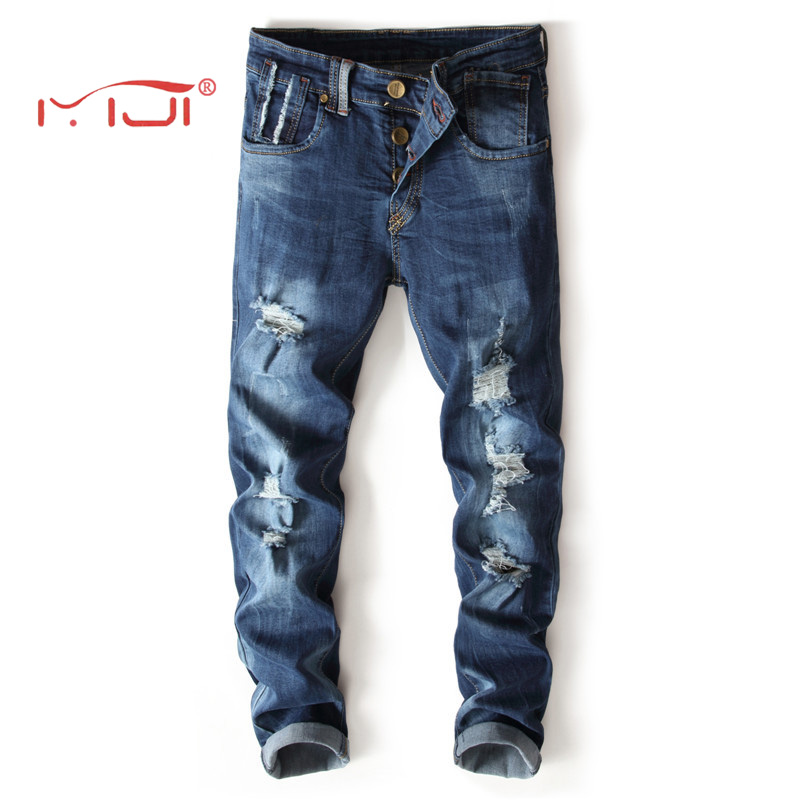 Hand-rubbed Stretch Jeans High Quality Slim Fit Blue Mens Jeans Classic Denim Casual Pants Stretch Destroyed Long Trousers