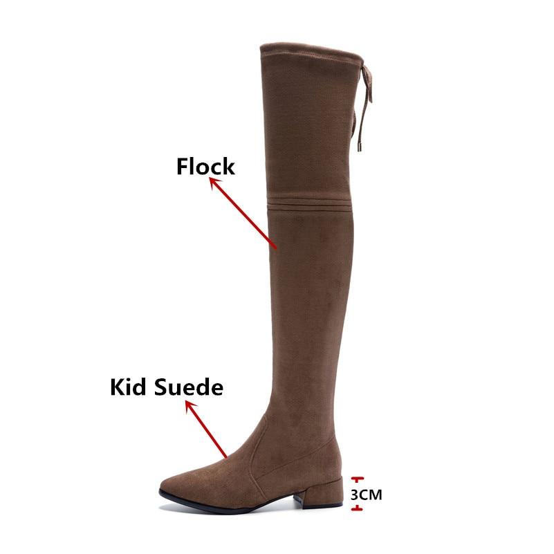 Ayakk.'ten Diz Üstü Çizmeler'de FEDONAS 2019 Yeni Diz Üzerinde Yüksek Çizmeler Kalın Topuklu Ince Uzun Sonbahar Kış Ayakkabı Kadın Sıkı Yüksek Balo dans ayakkabıları çizmeler'da  Grup 3