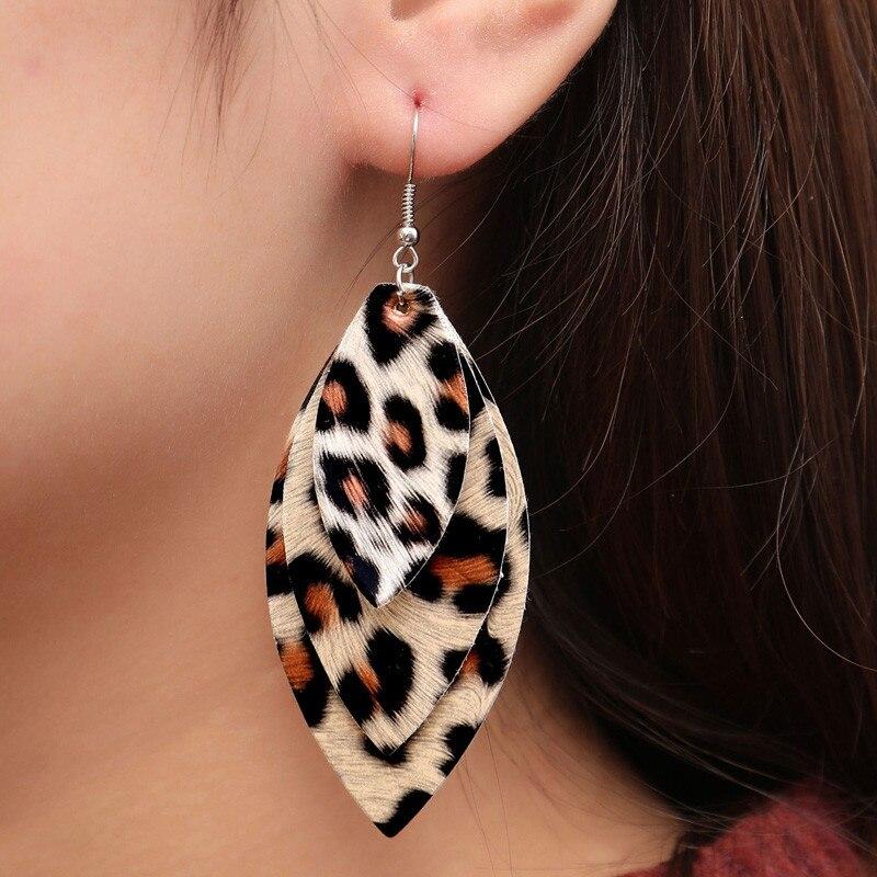 3 Layer Leopard Drop Earrings Women Long Leather Tassel Dangle Earring 6 Colors Black Red Green Fashion Jewelry Trendy