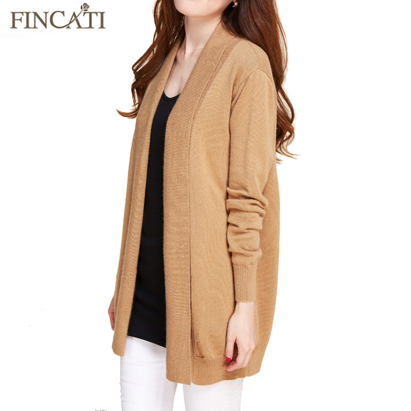 Cardigan Women Spring Autumn High Quality Pure Mink Cashmere Open Stitch Fashion Loose Casual Sweaters Outwear Coat