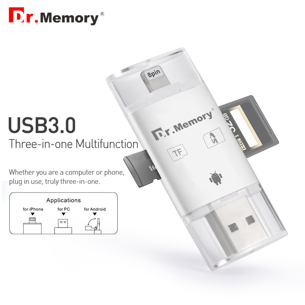 Dr.memory Card Reader For Apple Iphone 6s 7 Plus Pendrive Metal Expansion Android Phone OTG Memory Card Reader Usb3.0