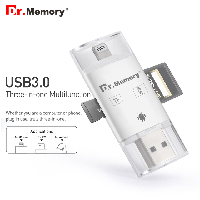 US $11 99  Dr memory micro Sd card reader for Apple iphone 6s 7 plus  Pendrive metal Expansion Android phone OTG memory card reader usb3 0-in  Card