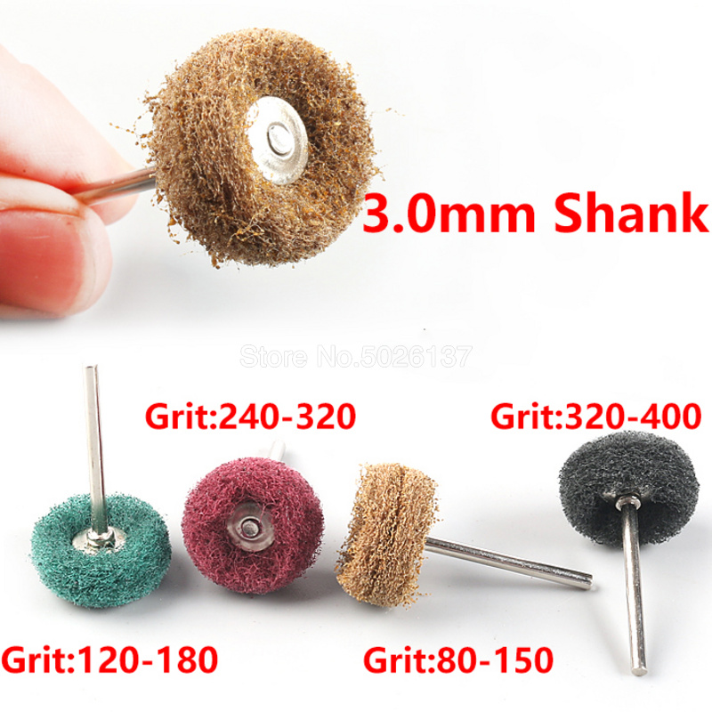 2Pcs/Lot Mini Brush Scouring Pad Abrasive Wheel Nylon Fiber Grinding Sanding Head Buffing Polishing Power Tool