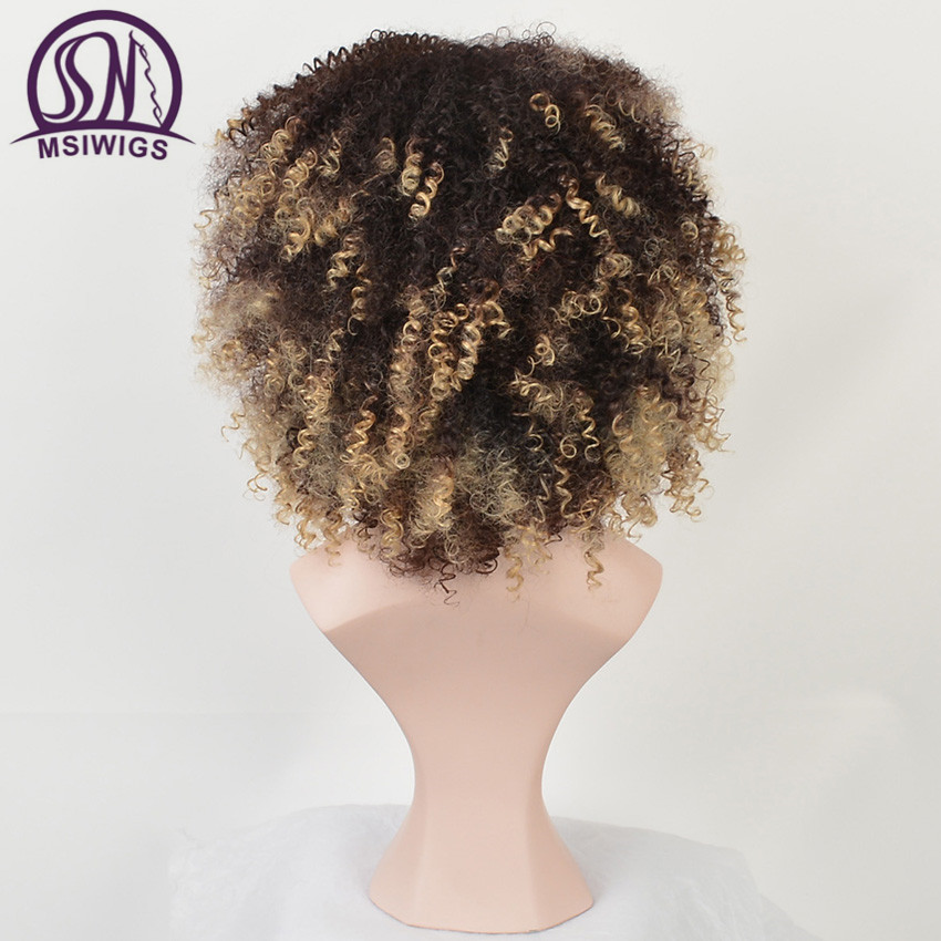 MSIWIGS Short Ombre Curly Wigs for Black Women American African Natural Synthetic Afro Wig with Bangs High Temperature Fiber