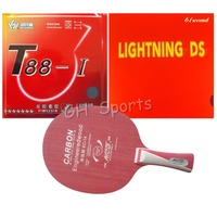 Galaxy EC 14 Table Tennis Blade With Sanwei T88 I and 61second Lightning DS Rubbers With Sponge for a Racket Long Shakehand FL