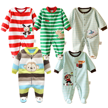 0-12M Baby Rompers Winter Warm Fleece Clothing Set for Boys Cartoon Monkey Infant Girls Clothes Newborn Overalls Baby Jumpsuit jumpsuit lucky child for girls and boys 5 4 0m 12m children s clothes kids rompers for baby