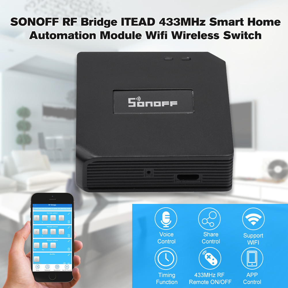 SONOFF RF Bridge ITEAD 433MHz Wifi Wireless Switch DIY Convert RF Remote Controllers Works With Alexa Google Home For Smart Home