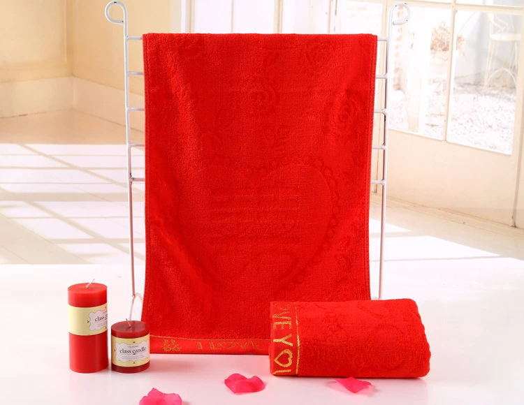 Home Textile Cooperative Wedding Supplies 50% Cotton 50% Bamboo Fiber 34 X 76cm 130g Red Quick Dry Bath Hair Towel Super Absorbent For Marriage A00137 Aromatic Character And Agreeable Taste