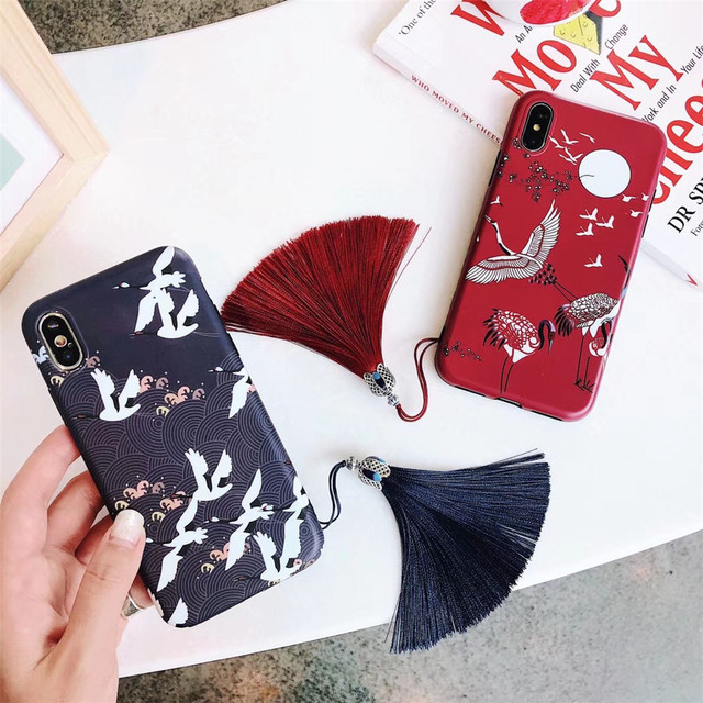 54ce025b98 US $4.35 |Japanese Style Cherry Blossom Crane Tassel Phone Cases For iPhone  X XS MAX XR 6 6s 7 8 Plus Matte Soft TPU Silicone Back Covers-in Fitted ...