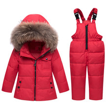 Winter Children's Clothing Sets Warm Baby Boy Ski Suits Snowsuits Real Fur Girl's Down Jackets Outerwear Coat+suspender Jumpsuit