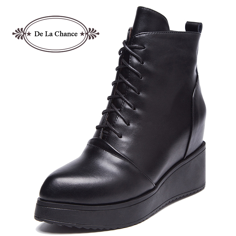 ⓪De La Chance Lace Up ᗗ Wedge Wedge Winter Boots ∞ Fashion ...