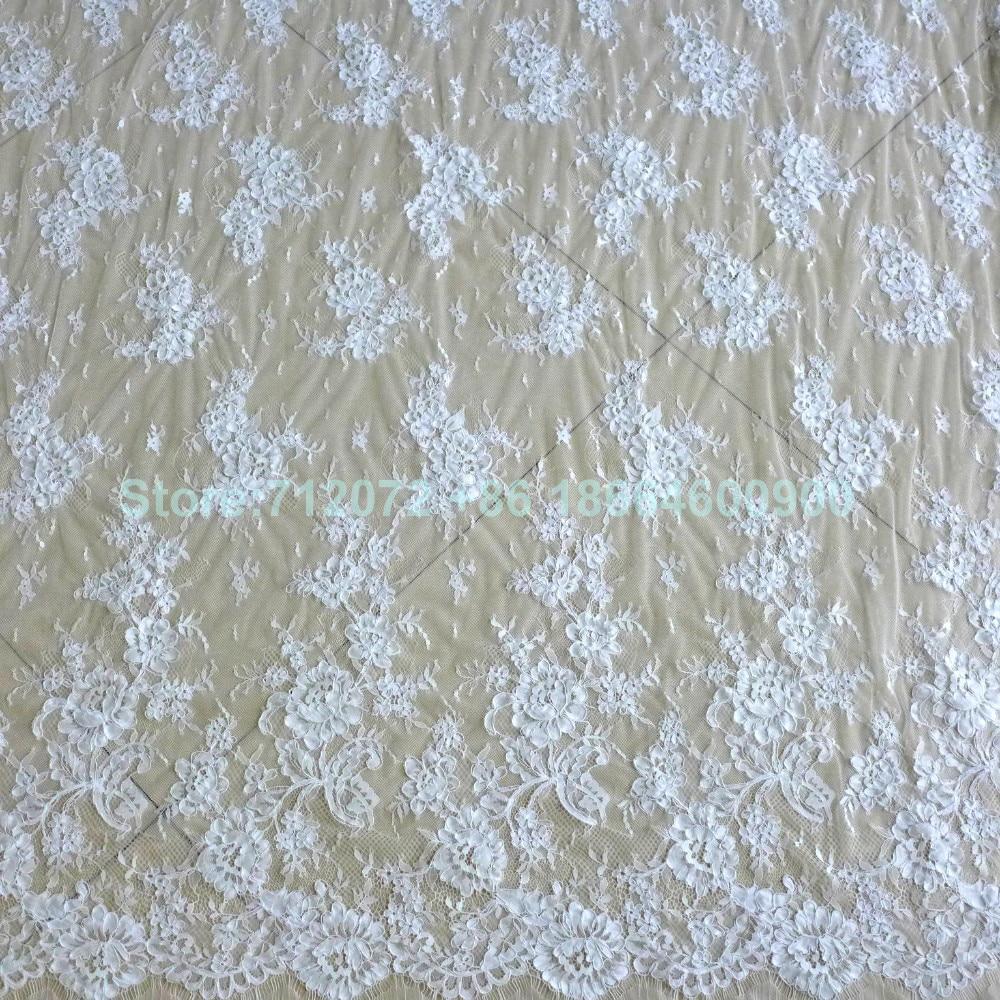 150 cm * 3 meters door stuk goede kwaliteit off wit Venetië geborduurde Franse wimper bruids kant stof - 5