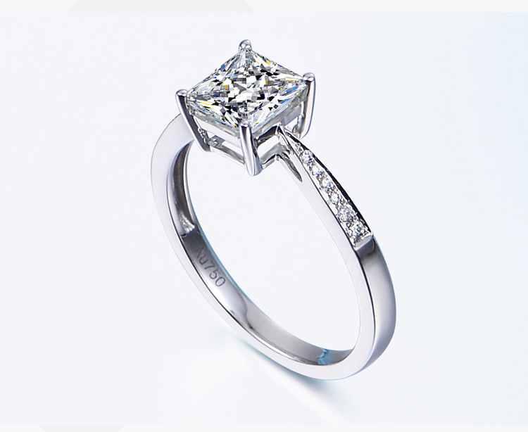 GIGAJEWE Moissanite Ring with White FG color4mm moissanite stone fore beautiful jewelry рубашка fore axel