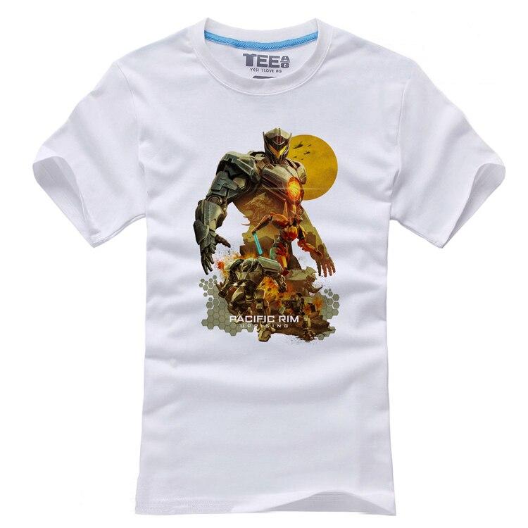 2018 Film Pacific Rim 2 Soulèvement Affiche T-shirts À Manches Courtes Hommes Cosplay Blanc Impression Coton O-cou Tops T-shirts
