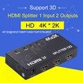 Adaptador HIDI Switch kvm HDMI 3D SPLITTER 1x2 HD 3D 4 K x 2 K para PC DVD Receptores de Satélite Digital Filmadoras HDTVs Dispositivos Xbox TV