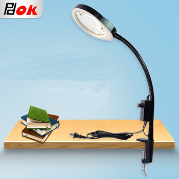 10x Loupe 6W LED Magnifying Lamp Metal Clamp Swing Arm Desk Lamp Stepless Dimming Light Magnifier LED lamp White Large Lens