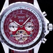 2016 Nueva Marca de Moda de Lujo JARAGAR Taquímetro Fecha Dial Correa de Cuero de Tourbillon Automático Hombres Mecánicos Relojes de Pulsera de Regalo