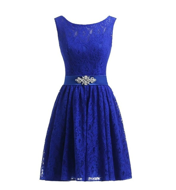 Royal Blue Bridesmaid Dress Short Scoop Neck Stones Belt A Line Lace Dresses For Wedding