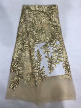 High Quality African Lace fabric embroidery guipure lace Latest french net with sequins  SL1075