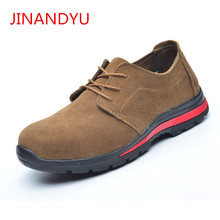 Summer Mens Casual Breathable Steel Toe Cap Work Safety Shoes for Men Cow Suede Leather Tooling Boots Security Loafers Big Size