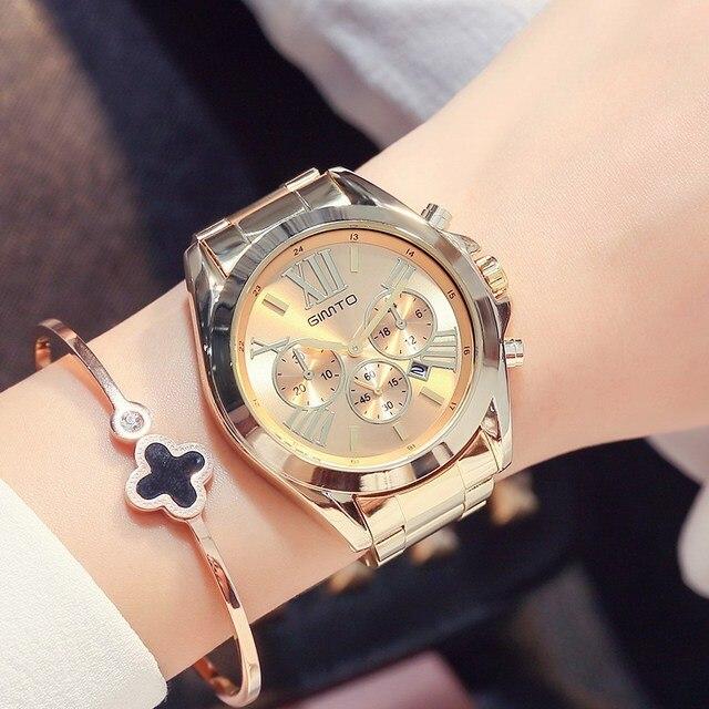 be3a1ad5042 2017 Moda Subiu Mulheres de Ouro Relógios de Luxo Da Marca Relógio De  Quartzo Roman Senhoras