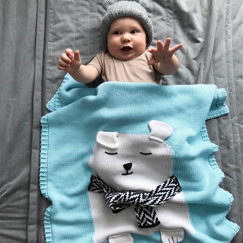 110cmx80cm 3 Color Cartoon Animal Cute Baby Bear Blanket Throws on Sofa/Bed/Plane Travel Plaids Limited Wool Thread Blanket